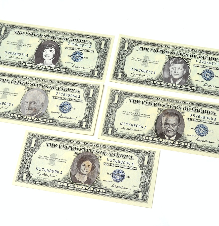 A group of 5 1957 blue seal one dollar silver certificates ebth a group of 5 1957 blue seal one dollar silver certificates xflitez Images