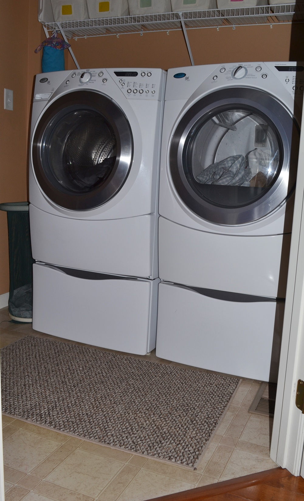 Interesting Whirlpool Duet Washer And Dryer Elecric With Storage Pedestals To Decor