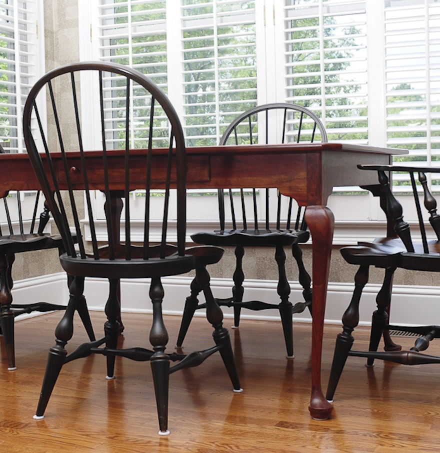 bob timberlake breakfast table and four windsor style chairs