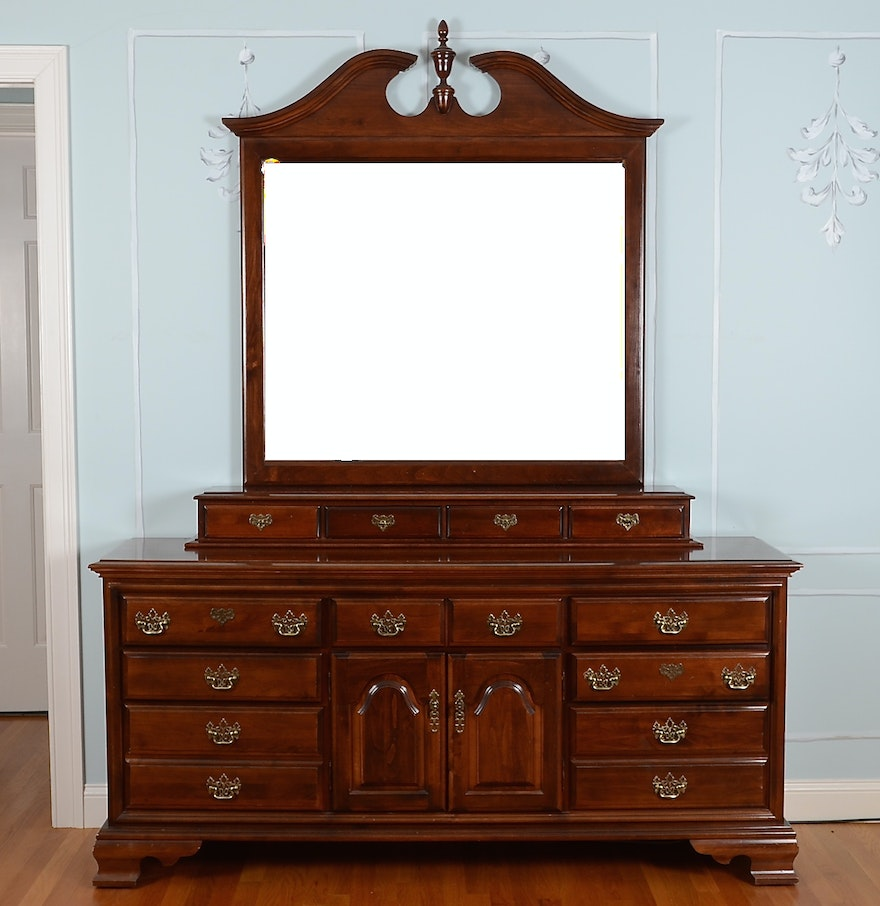 Ethan Allen Georgian Court Triple Dresser And Mirror