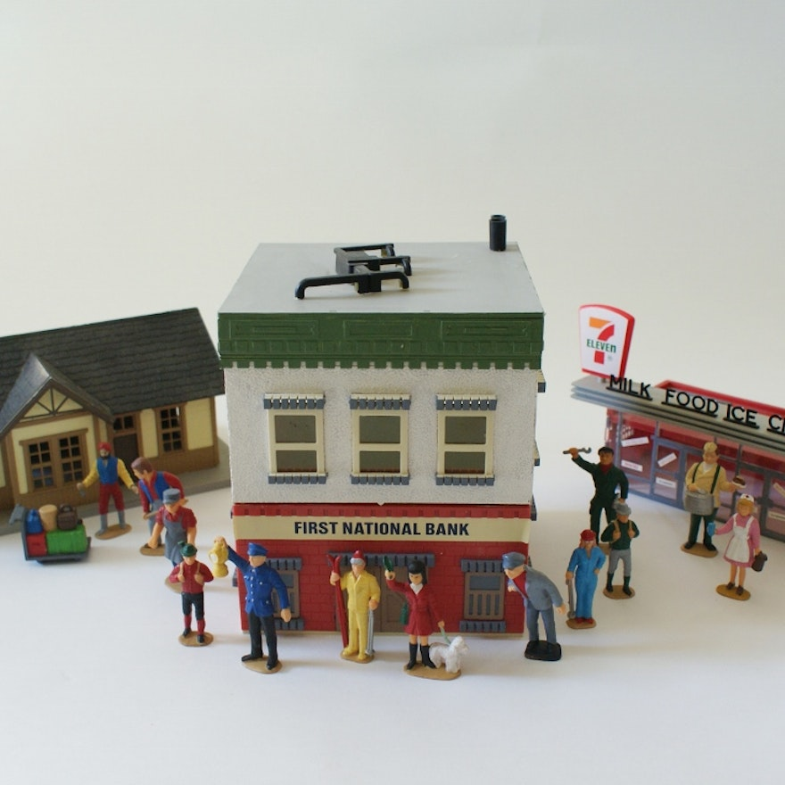 Model Train Buildings and Figures Lot
