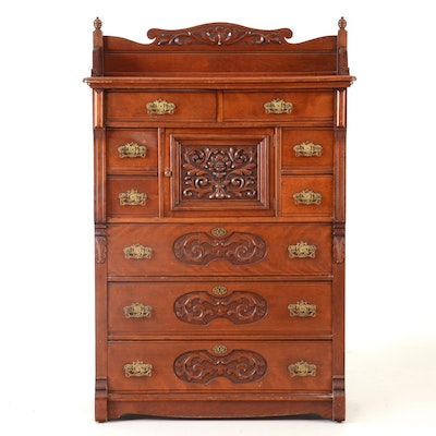 1890 Cherry Chest with Ornate Carvings - Online Furniture Auctions Vintage Furniture Auction Antique