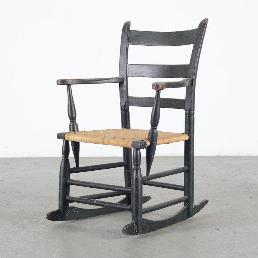 Stupendous Child Size Rocking Chair With Wicker Seat Creativecarmelina Interior Chair Design Creativecarmelinacom