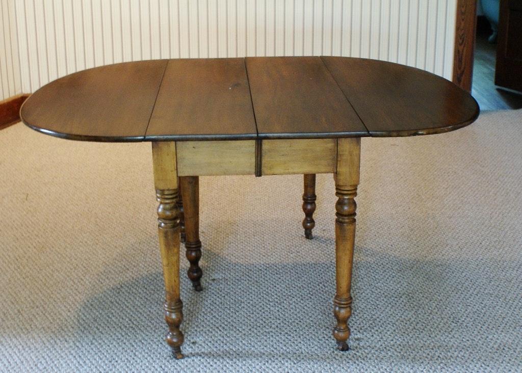 Antique Five Legged Walnut Drop Leaf Table ...