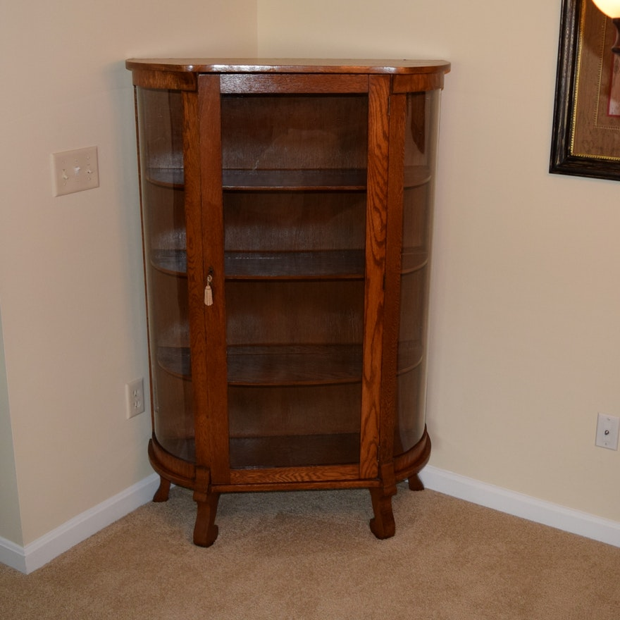 Antique Curio China Cabinet with Curved Glass ... - Antique Curio China Cabinet With Curved Glass : EBTH