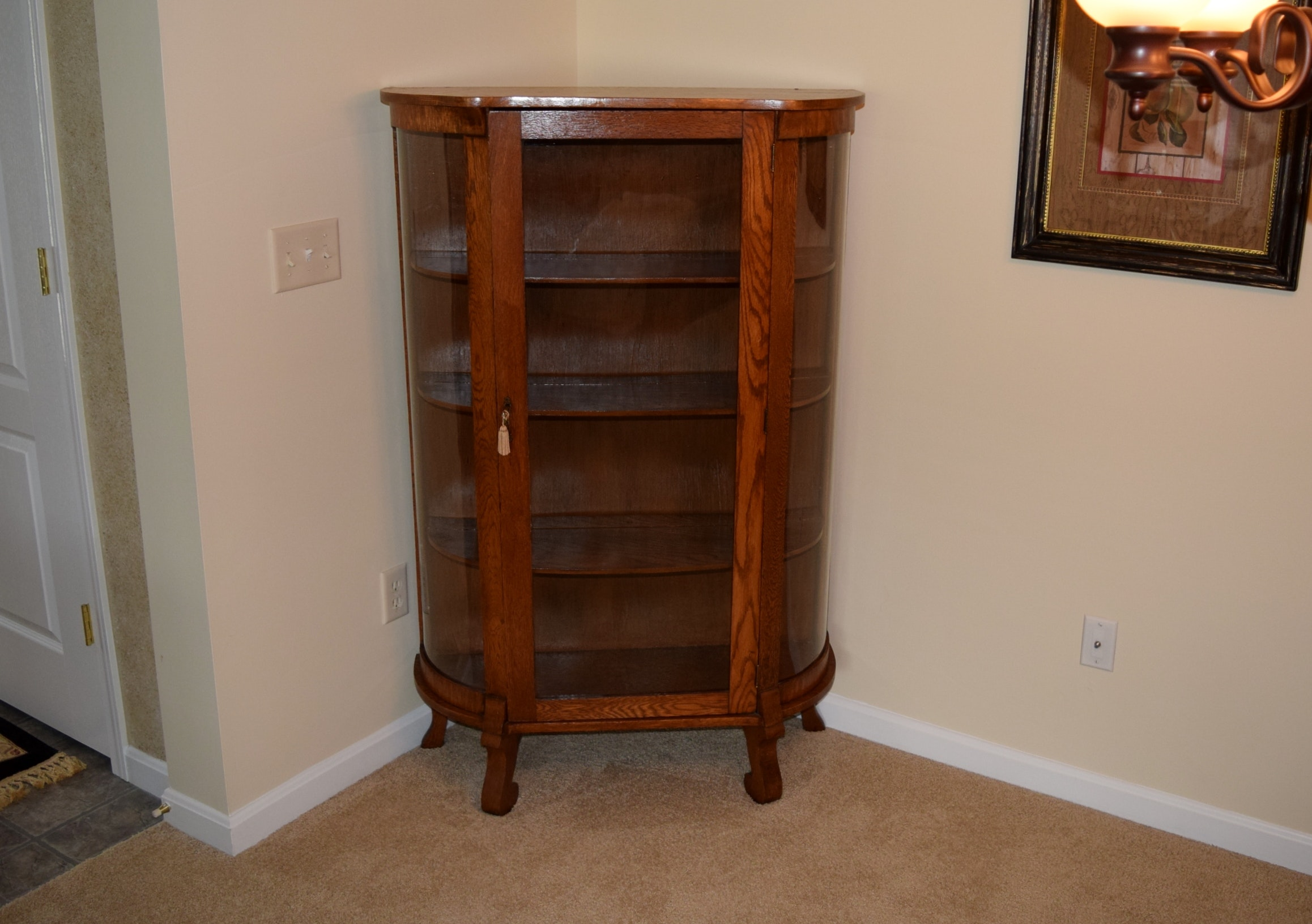 Antique Curio China Cabinet With Curved Glass ...