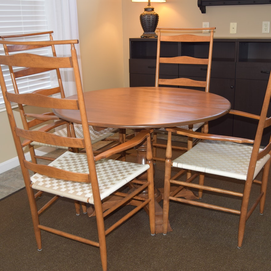 Maple Dining Table And Four Shawl Back Shaker Chairs With Arms EBTH