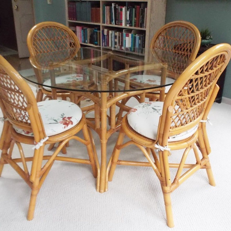 Ficks Reed Gl Top Dining Table And Chairs