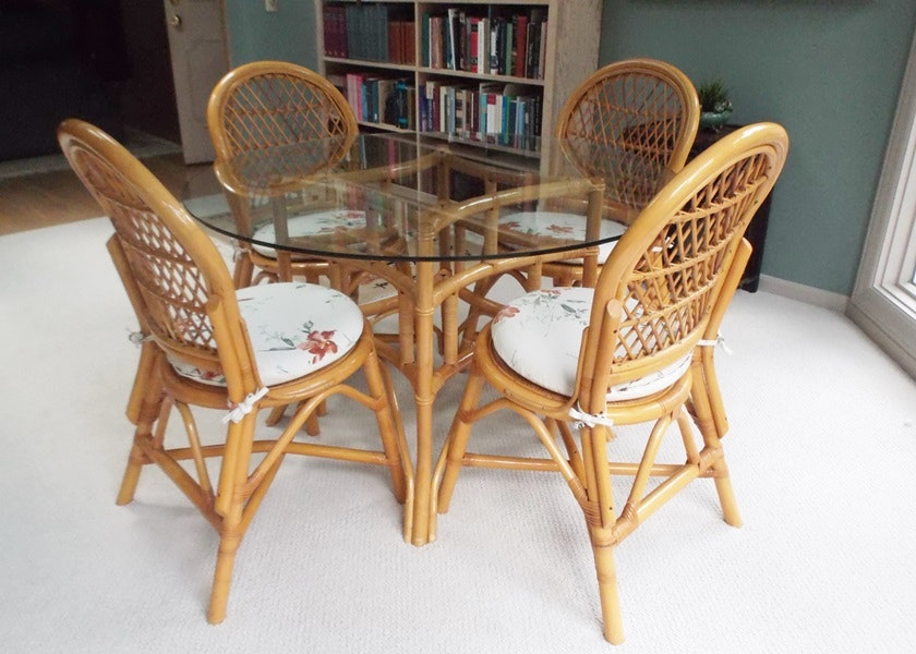 Captivating Ficks Reed Glass Top Dining Table And Chairs ...