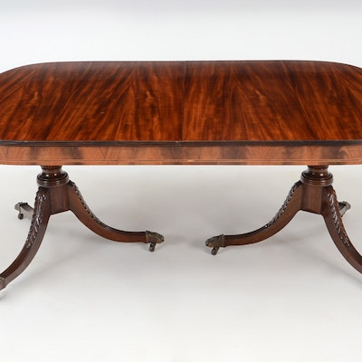 Mahogany Inlaid Federal Style Dining Table - Online Furniture Auctions Vintage Furniture Auction Antique