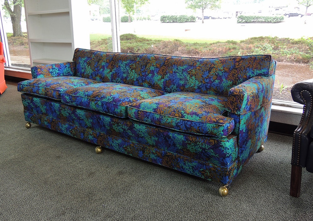Etonnant Tropical Blue Patterned Sofa ...