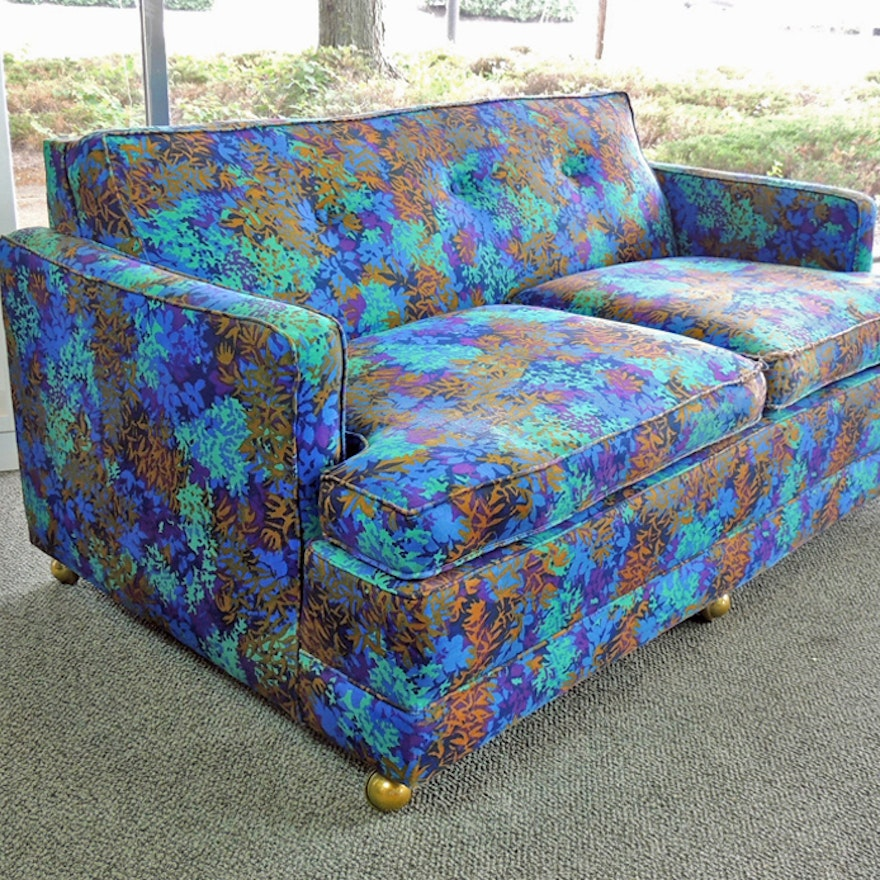 Incredible Tropical Blue Patterned Loveseat Bralicious Painted Fabric Chair Ideas Braliciousco