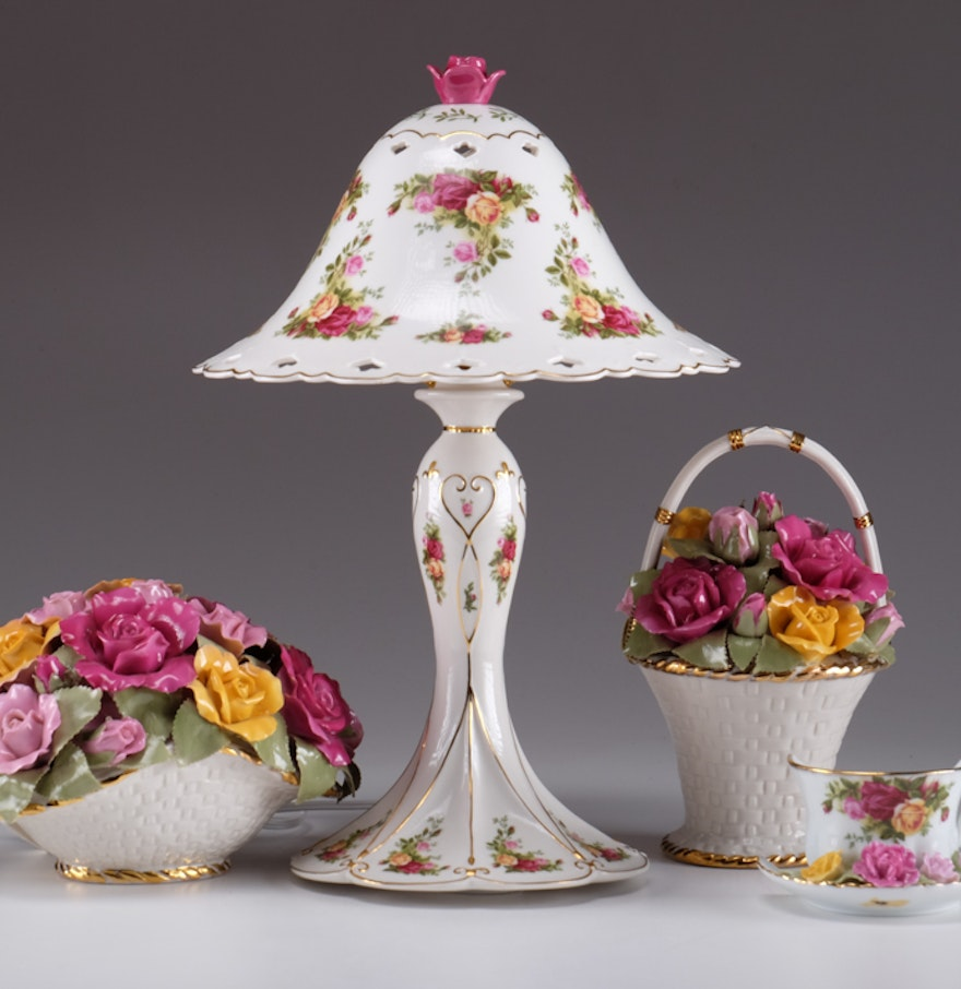 Royal Albert Old Country Roses Table Lamp And Decorative