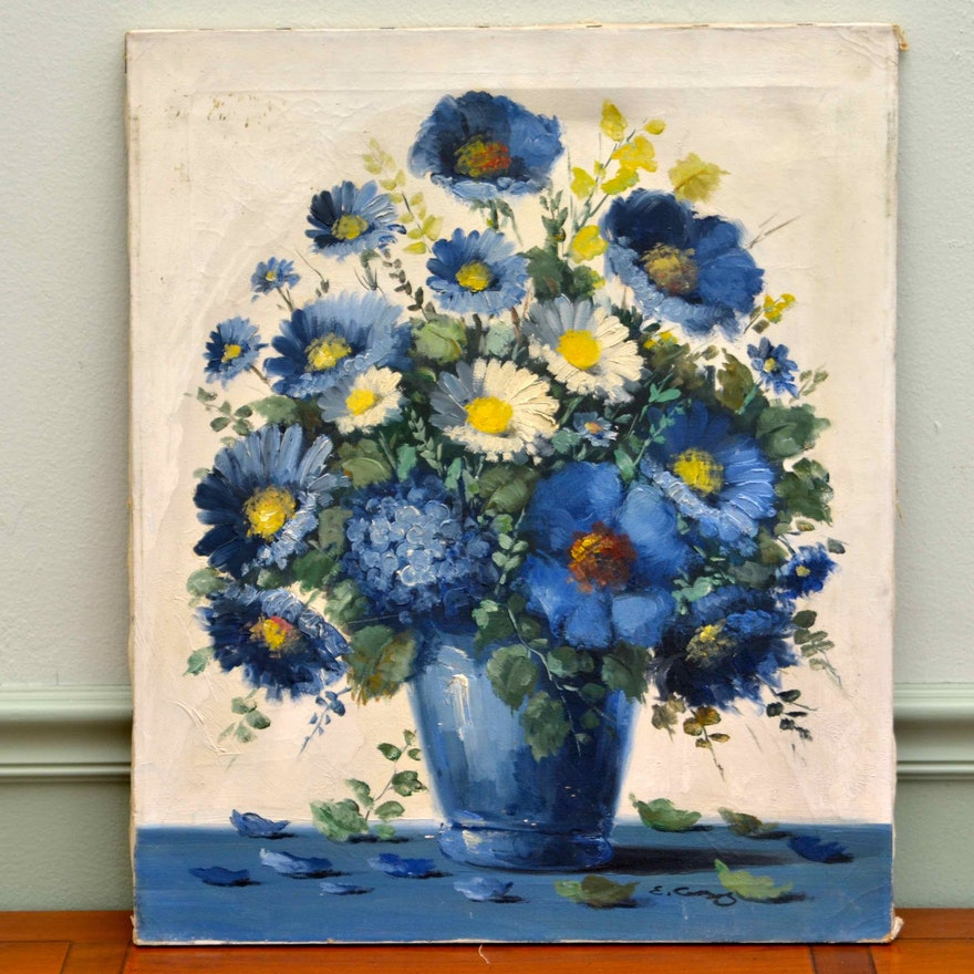 Original oil painting of blue and white flowers in a blue vase ebth original oil painting of blue and white flowers in a blue vase mightylinksfo