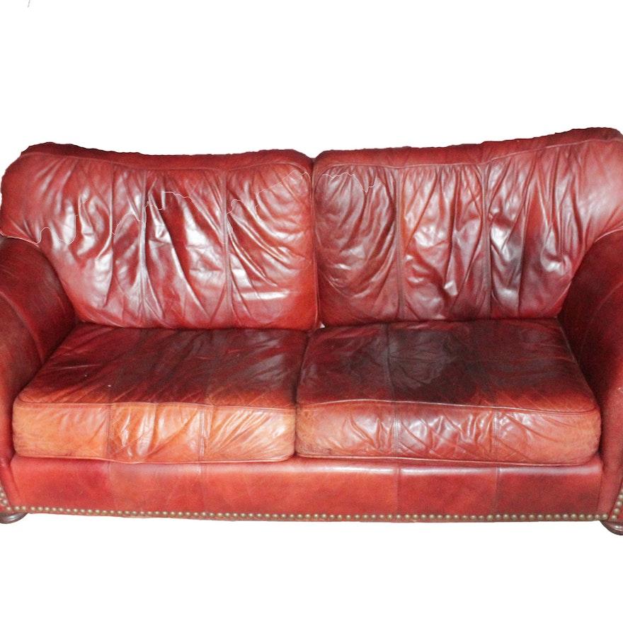 Overstuffed Leather Sofa