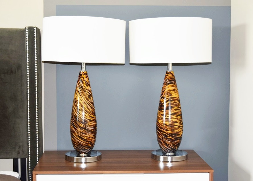 Pair Of Tortoise Glass Table Lamps Ebth