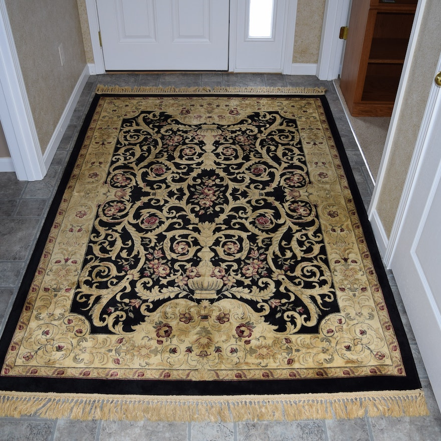 Black And Tan Viscose Area Rug Made In