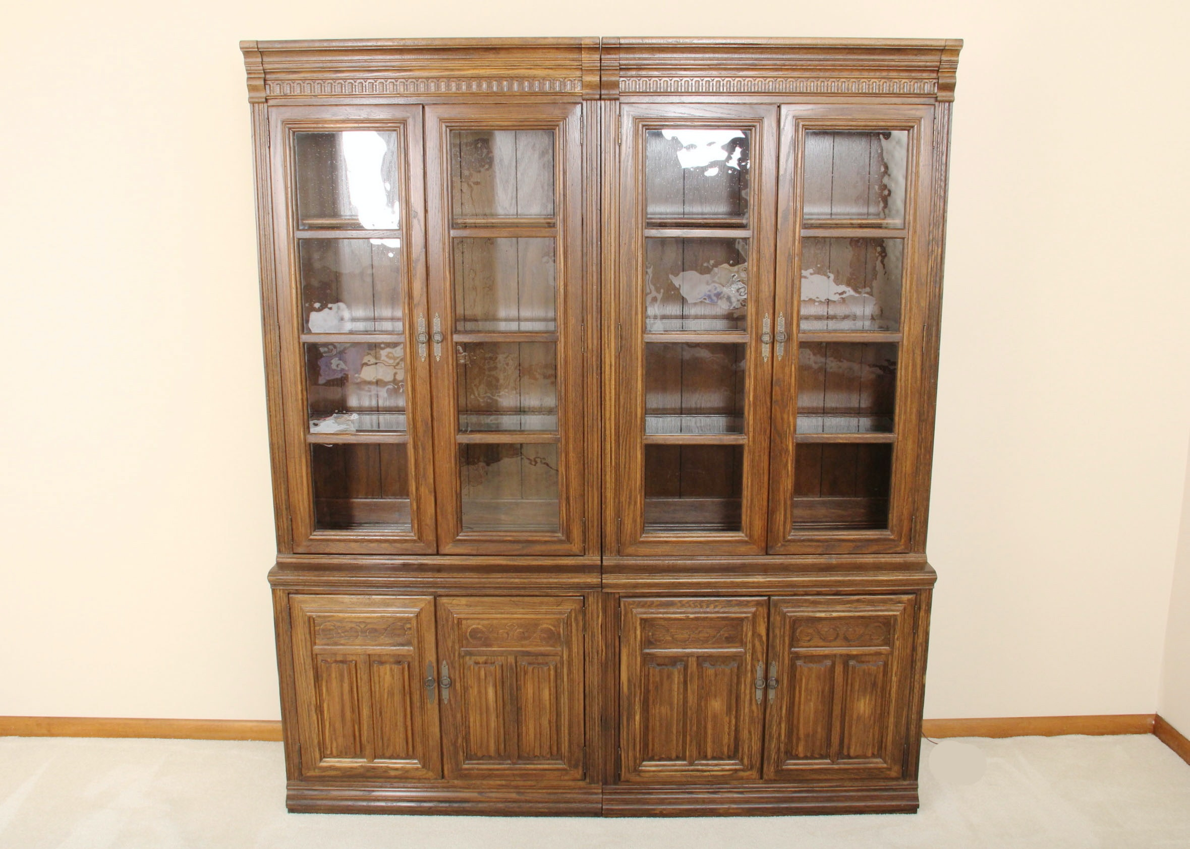Pair Of Oak China Cabinets ...