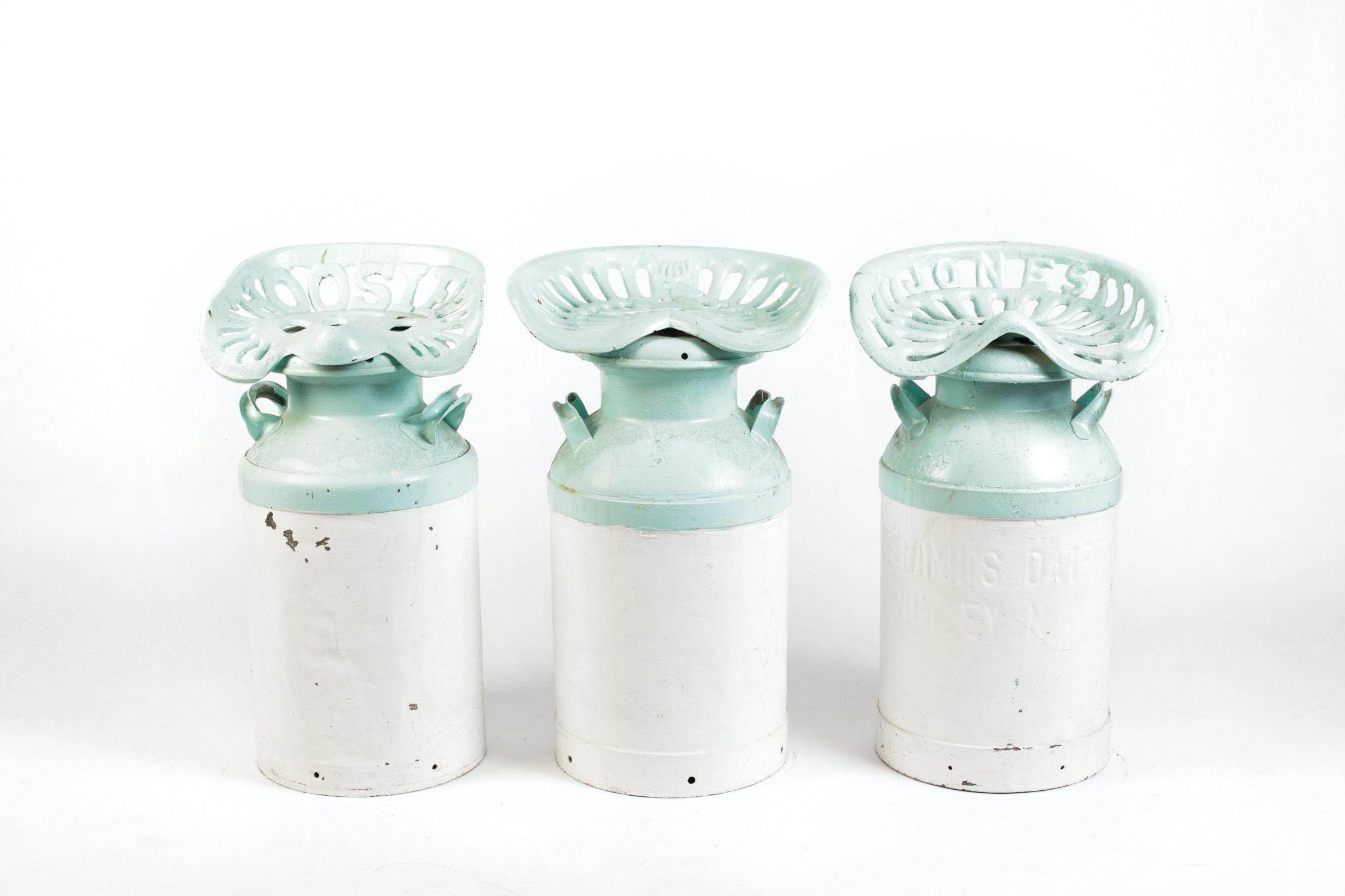 Set Of Three Milk Jug Saddle Seat Stools Ebth