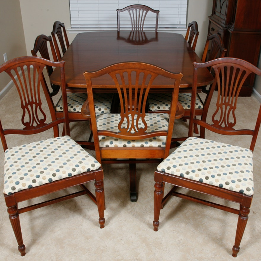 Bench Style Dining Table Sets ~ Vintage thomasville duncan phyfe style dining table and