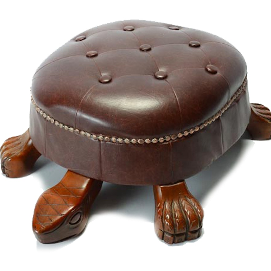 Carved Wood And Leather Turtle Ottoman