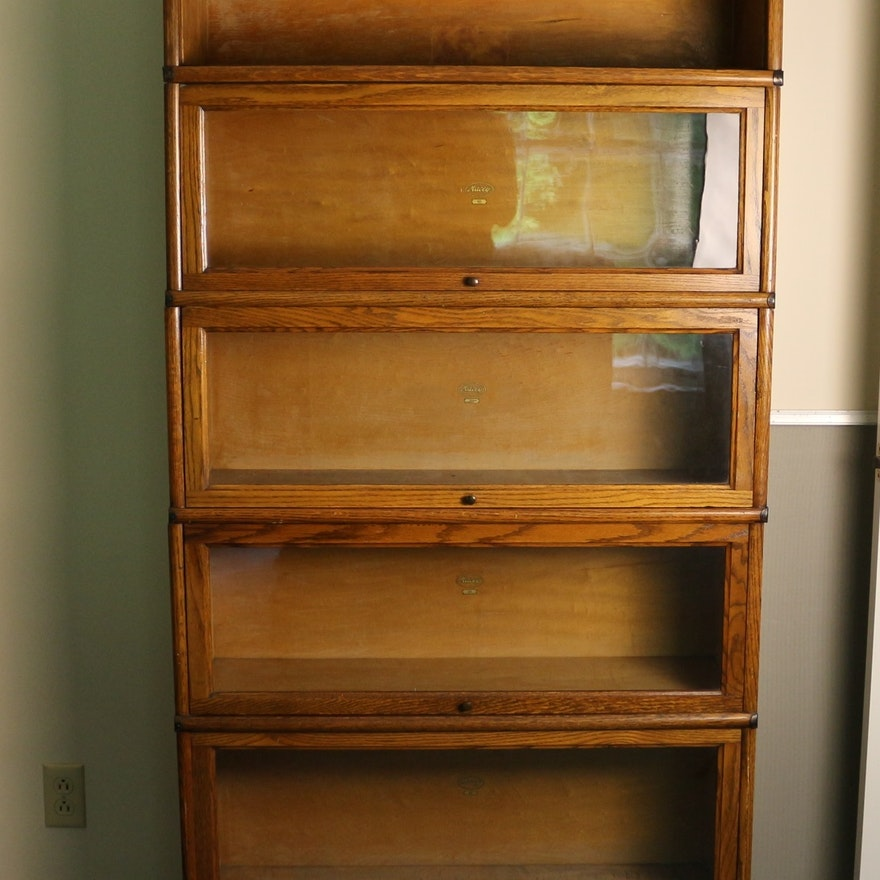 Antique oak five stack barrister bookcase ebth for Stacking bookcase plans