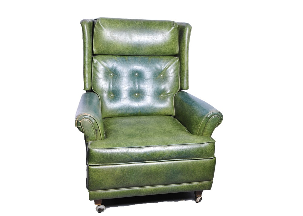 Green Naugahyde Wingback Recliner ...  sc 1 st  Everything But The House : wing back recliner - islam-shia.org