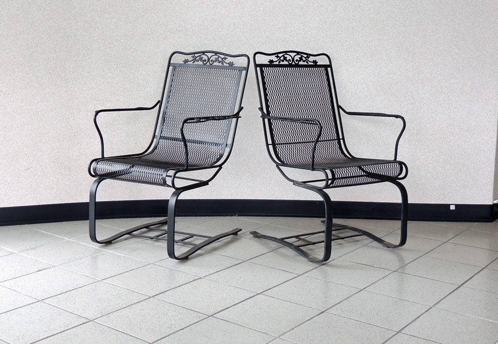 Two Oak Leaf Wrought Iron Spring Seat Patio Chairs Ebth