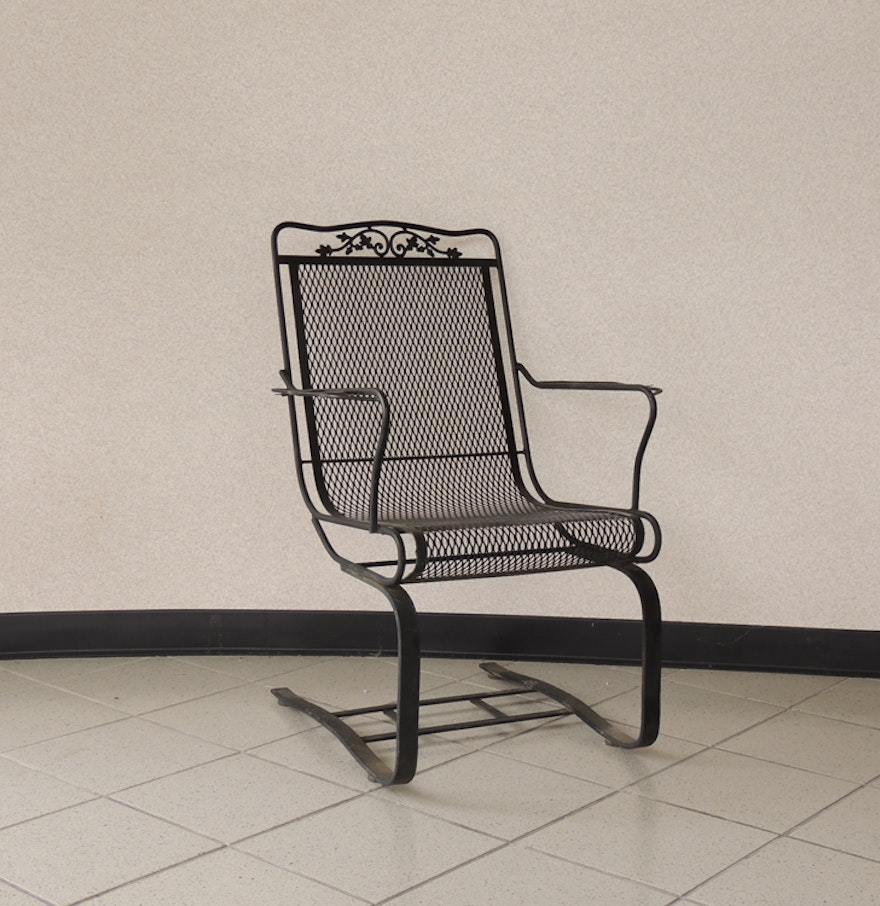 Metal mesh patio chairs - Oak Leaf Wrought Iron Spring Seat Mesh Patio Chair
