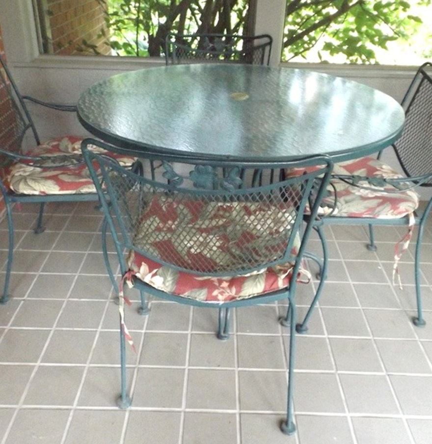 Glass topped metal patio table with four chairs ebth for Metal patio table and 4 chairs