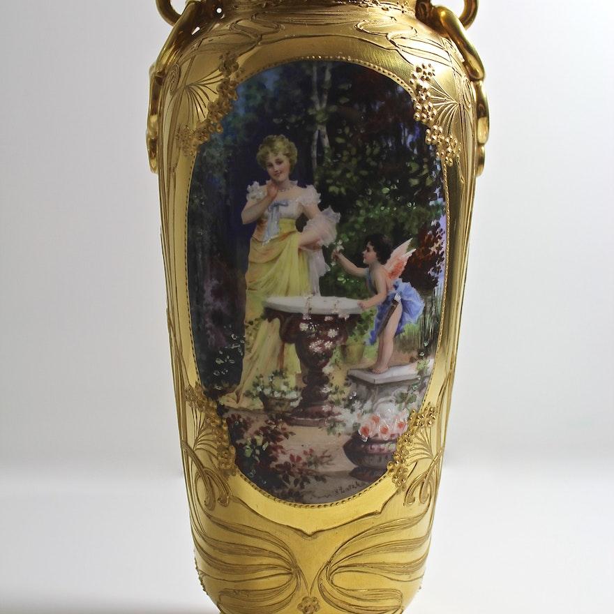 Karl Richard Klemm Dresden Vase Ebth