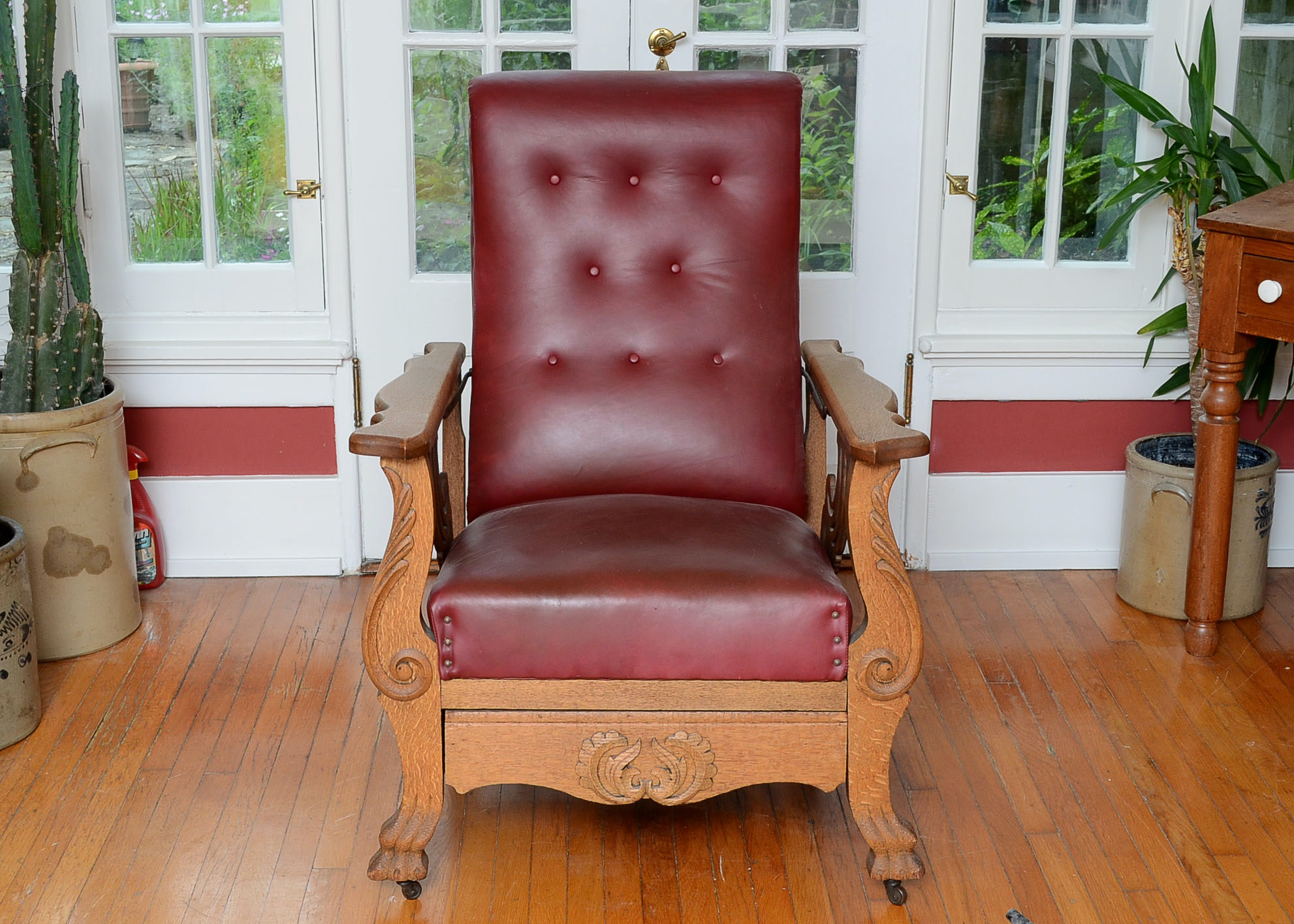 Antique Victorian Oak and Red Leather Morris Chair
