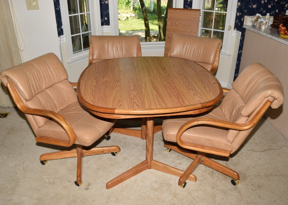 Kitchen Table And Chairs With Casters: Oak Kitchen Table And Four Leather And Oak Swivel Chairs