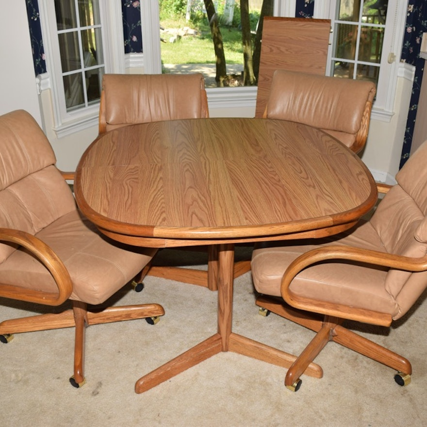 Kitchen Table With Chairs On Wheels: Oak Kitchen Table And Four Leather And Oak Swivel Chairs