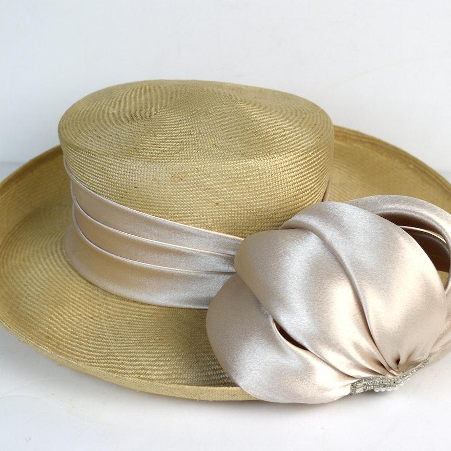 388e77fff8f Straw Derby Hat with Satin Ribbon   EBTH