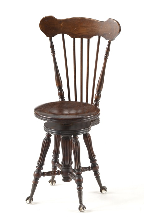 Antique Piano Stool With Back Ebth