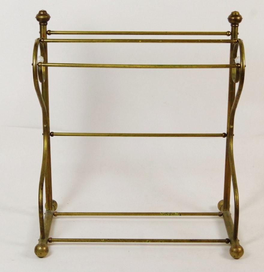 Antique Brass Quilt Rack EBTH
