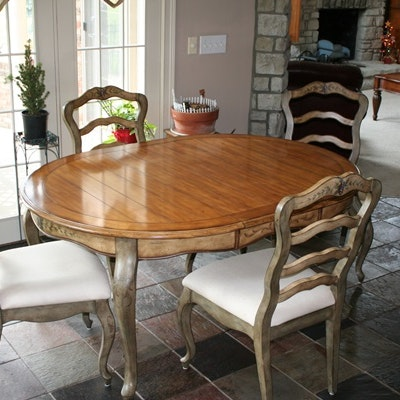 French Provincial Style Stenciled Dining Table And Chairs
