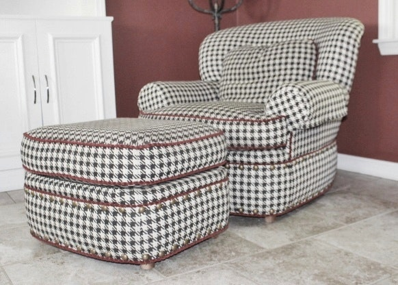 Pearson Black White Houndstooth Club Chair With Ottoman Ebth