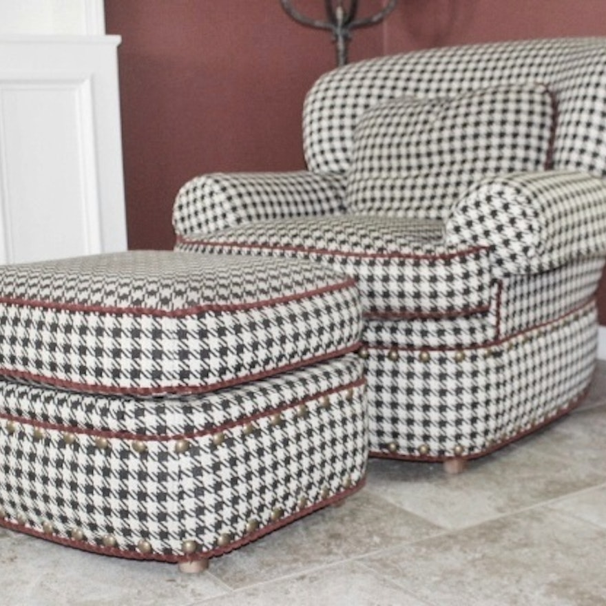 Pleasing Pearson Black White Houndstooth Club Chair With Ottoman Dailytribune Chair Design For Home Dailytribuneorg
