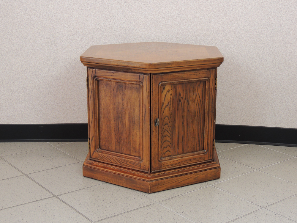 Vintage Hexagonal End Table with Storage EBTH