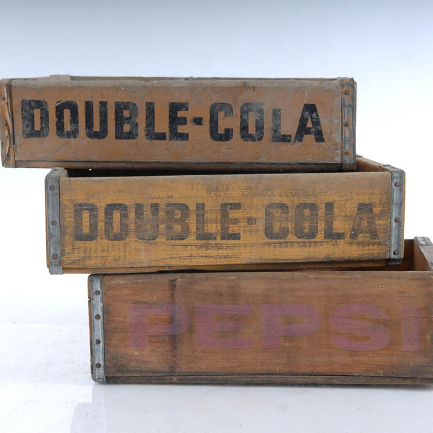 Three Pepsi And Double Cola Wooden Crates