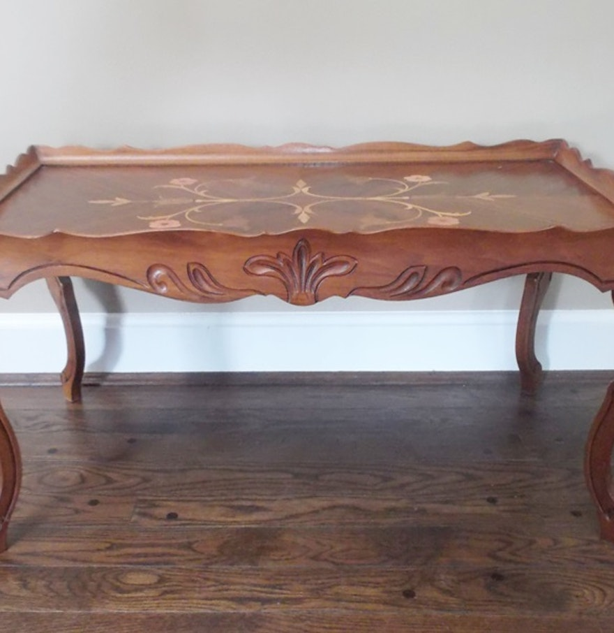 Hand carved french marquetry inlay coffee table ebth Hand carved coffee table