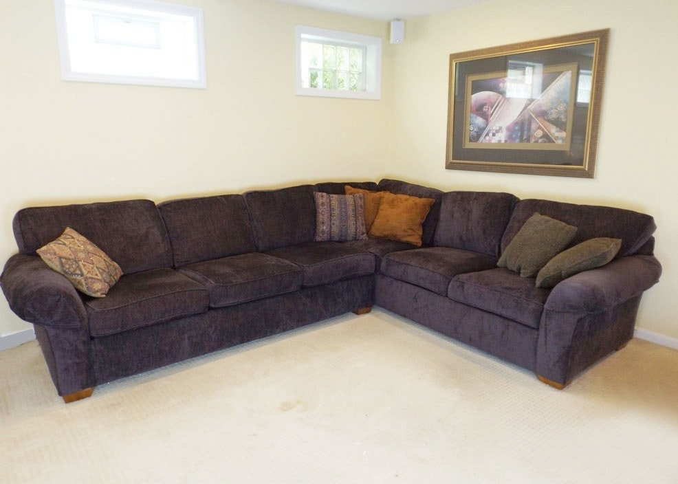 Modern Flexsteel Purple Sectional Sofa with Decorative Pillows EBTH