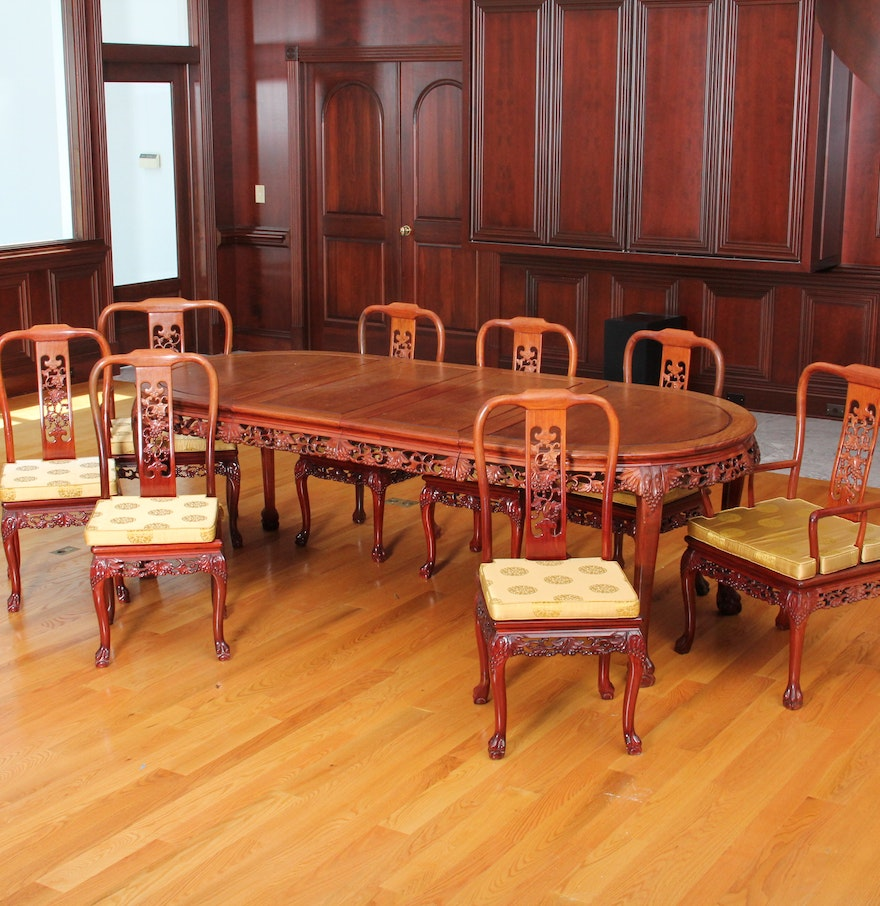Chinese Dining Table: Carved Chinese Rosewood Dining Table And Chairs : EBTH