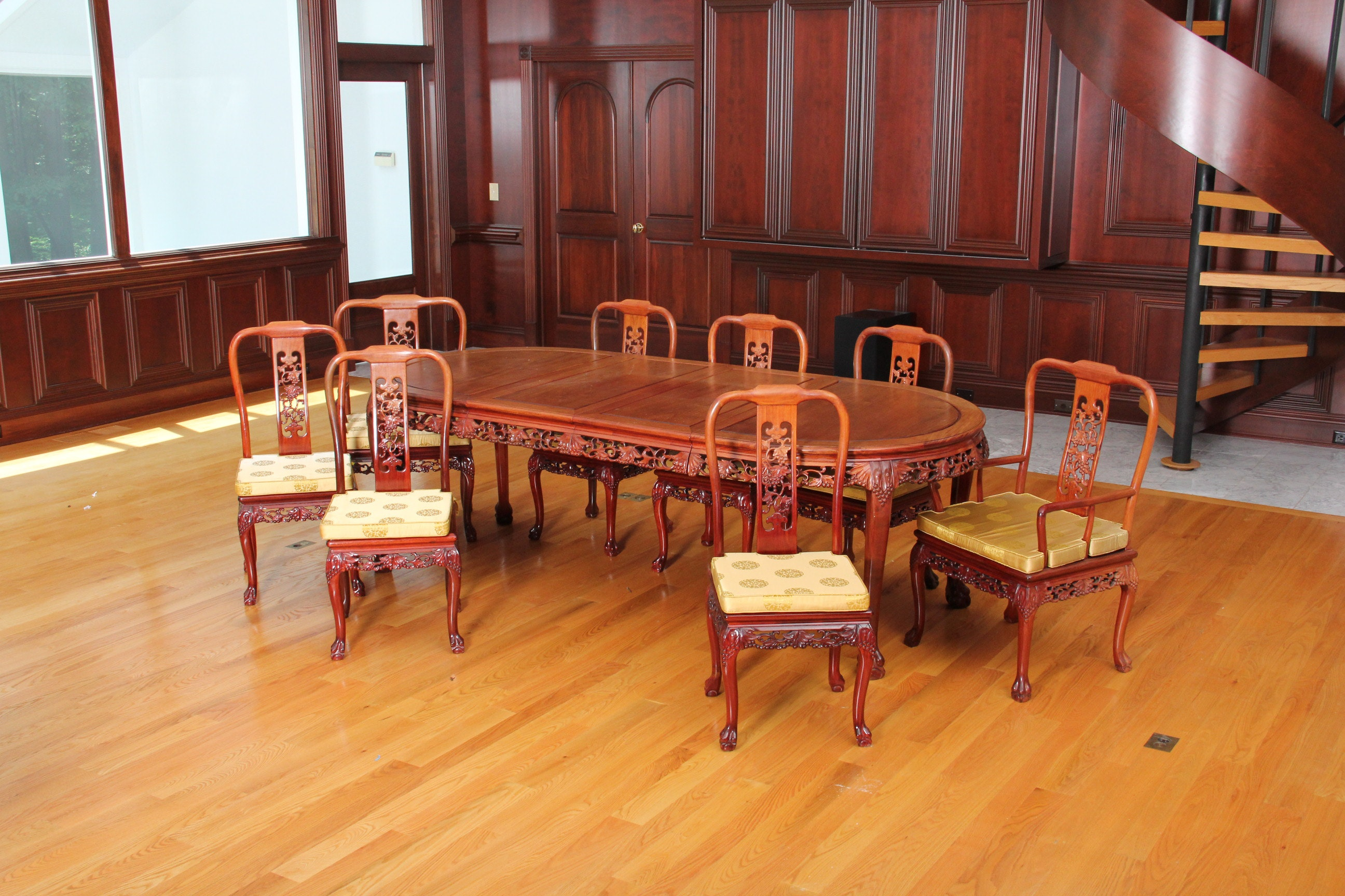 Carved Chinese Rosewood Dining Table And Chairs ...