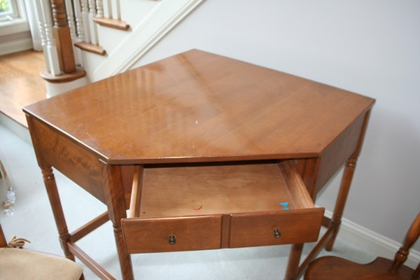 Vintage Maple Corner Desk and Two Chairs EBTH