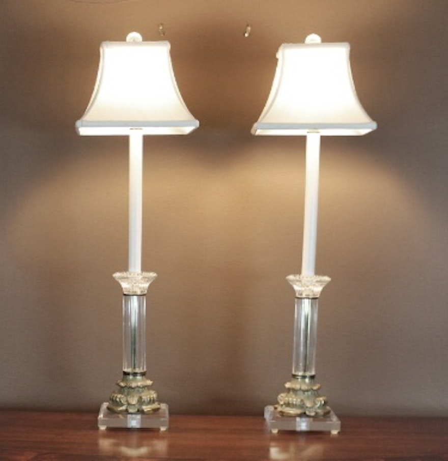 Crystal buffet lamps - Crystal And Brass Buffet Lamps