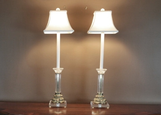 Crystal And Brass Buffet Lamps ...