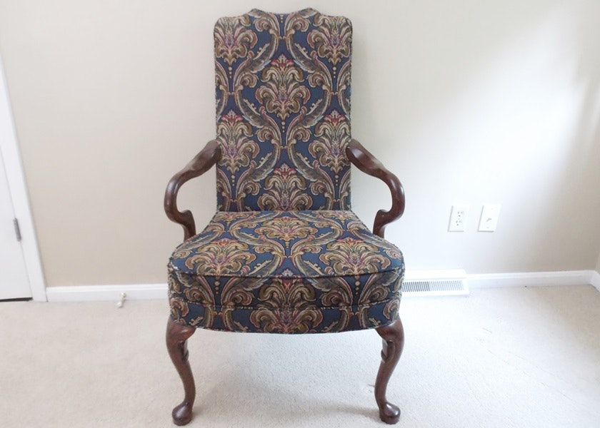 Delightful Queen Anne Style Goose Neck Arm Accent Chair ...